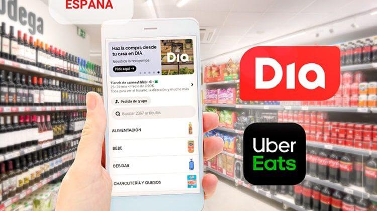DIA se alía con Uber Eats para ampliar su servicio de venta online y entrega a domicilio en menos de una hora